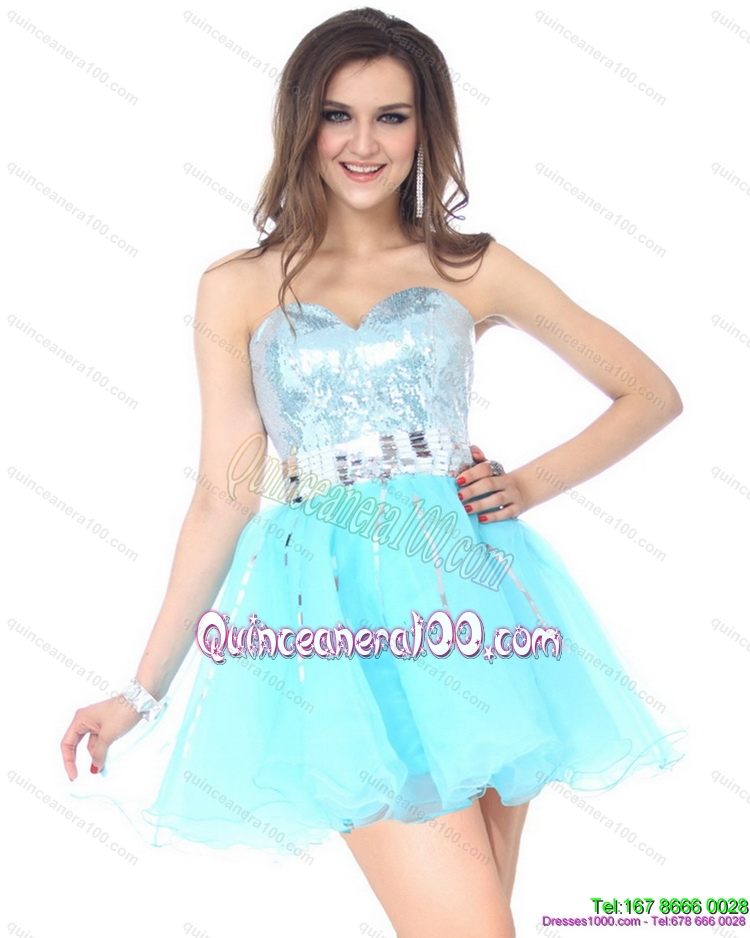 2015 New Style Sweetheart Light Blue Dama Dress with Sequins ...