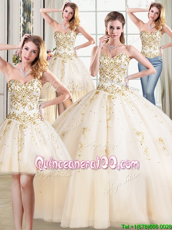 Popular Puffy Skirt Tulle Beaded Detachable Quinceanera Dress in Champagne