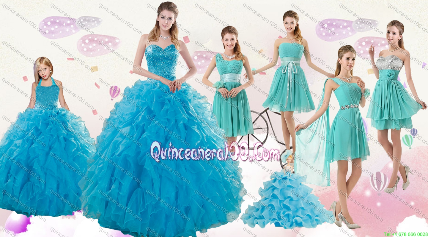 2015 Cheap Teal Sweetheart Quinceanera Dress and Ruching and Beading ...