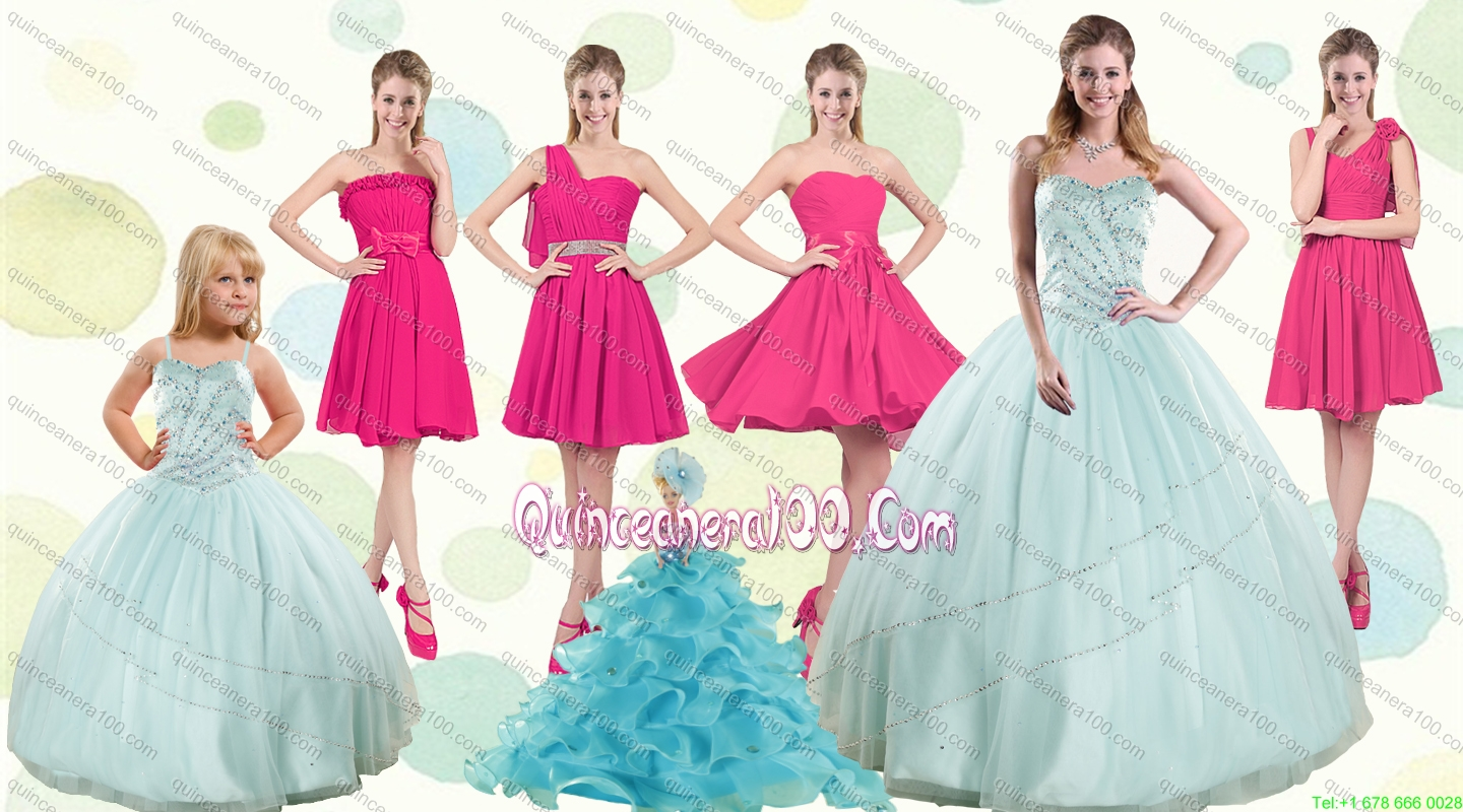 Apple Green Sweetheart Quinceanera Dress and Hot Pink Knee Length ...