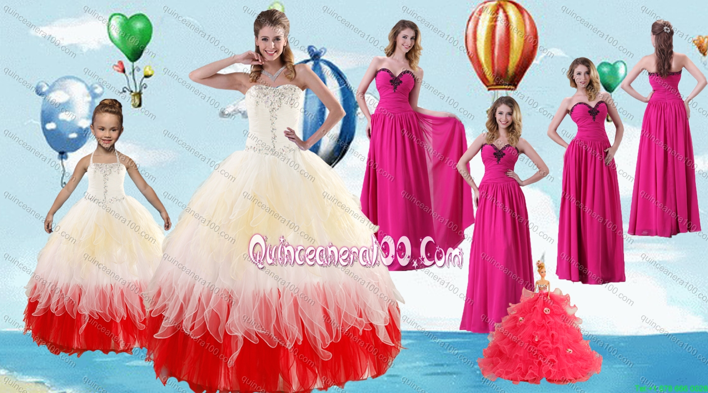 Beading Multi Color Quinceanera Gown and Hot Pink Sweetheart Long ...