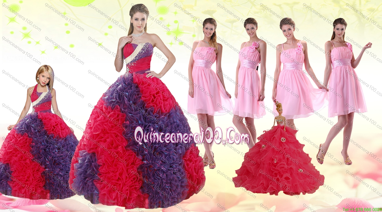 Pink multi color dress