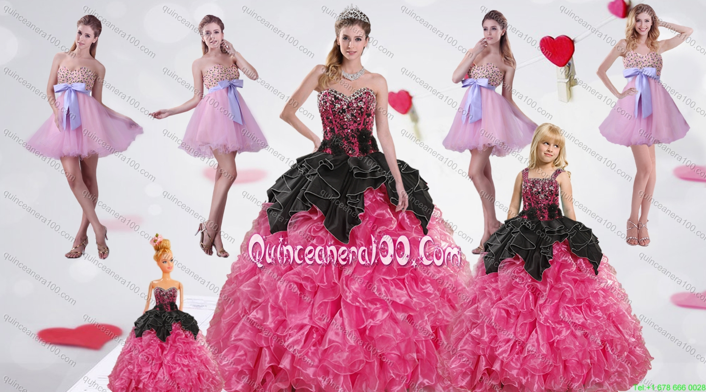 Multi Color Sweetheart Ruffles and Beading Dress for a Quinceanera ...