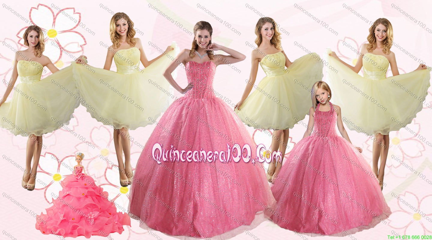 4ee2d19ee4b Rose Pink Beading Ball Gown Quinceanera Dress and Strapless Knee Length  Dama Dresses and Halter Top. triumph