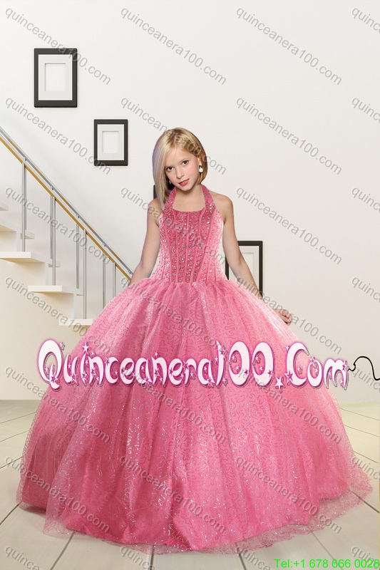 9f9d2a965a0 Rose Pink Beading Ball Gown Quinceanera Dress and Strapless Knee Length  Dama Dresses and Halter Top Little Girl Dress - Quinceanera 100