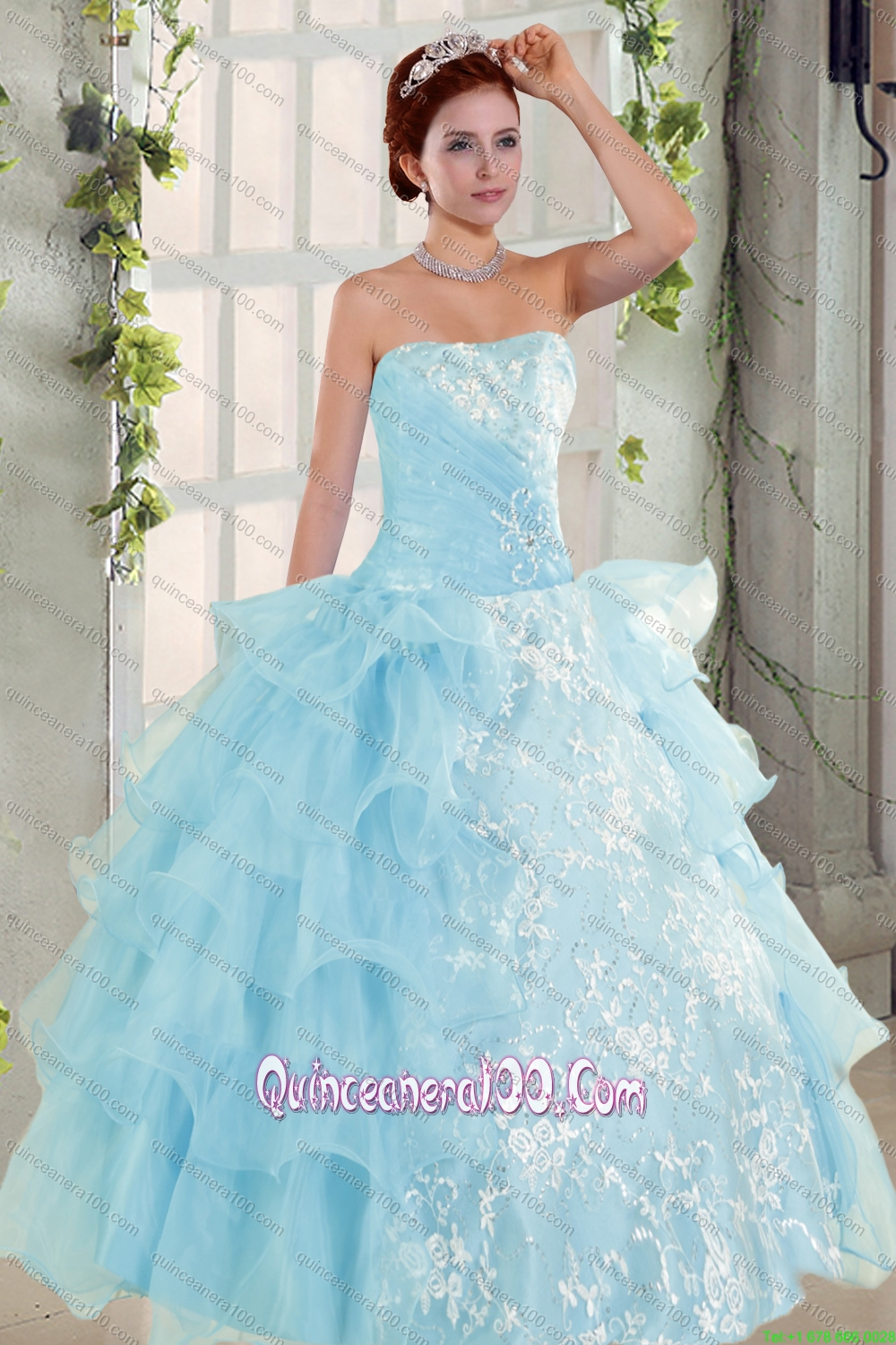 Strapless Ruffles Elegant Quinceanera Dress and Fashionable High Low ...