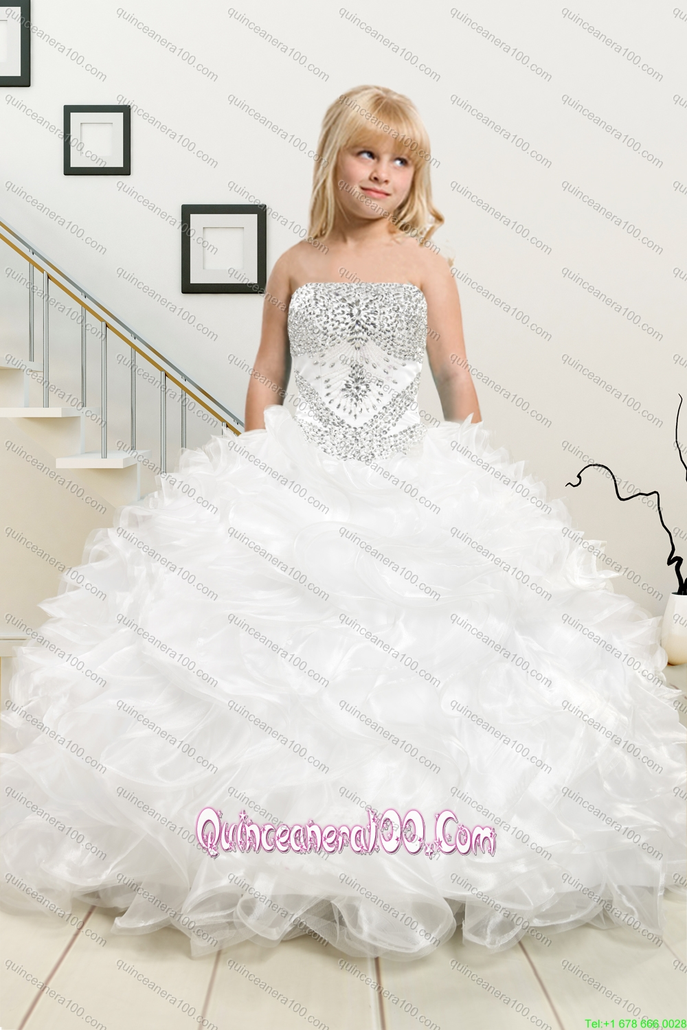White Sweetheart Ruffles Quinceanera Dress and Sequins V Neck Pink ...