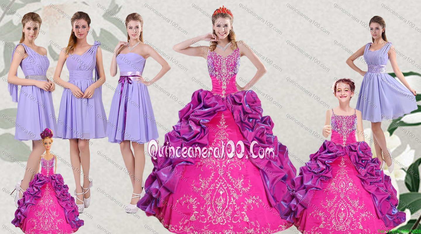 Multi Color Embroidery and Bubbles Quinceanera Dress and Ruching ...