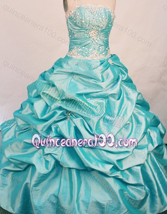 The Super Hot Ball Gown Strapless Beading Aqua Blue Quinceanera ...