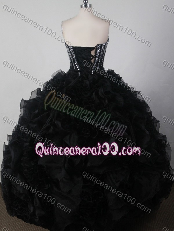 Beautiful Black Ball Gown Sweetheart Beading And Ruffles Quinceanera Dress