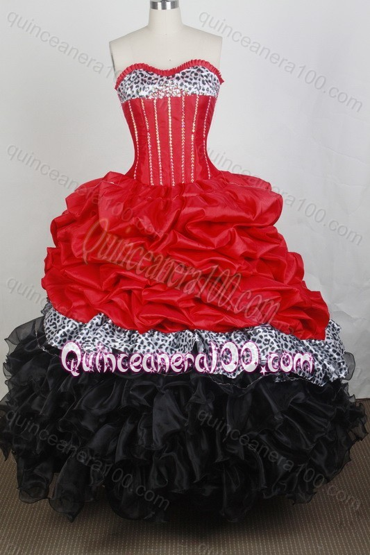 New Beading and Ruffles Ball Gown Sweetheart Red And Black