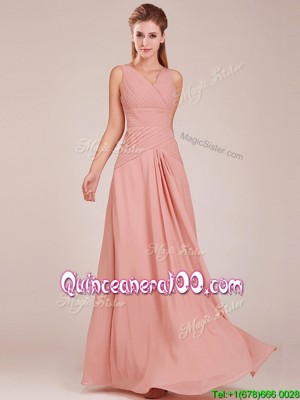 354824a14fb Modest Ruched Decorated Bodice Peach Dama Dress with V Neck. triumph