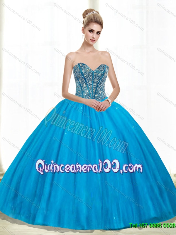 2015 Trendy Sweetheart Ball Gown Beading Quinceanera Dresses in Teal ...