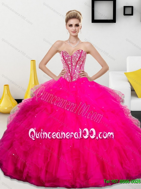 Trendy Beading and Ruffles Sweetheart 2015 Quinceanera Dresses