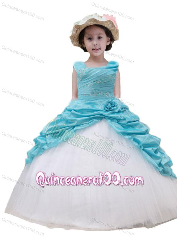 2014 Cute Straps Ball Gown Beading and Ruching Little Girl Pageant ...