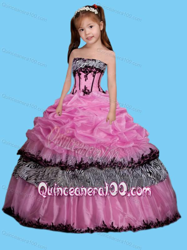 Strapless Appliques Decorate Little Girl Pageant Dress in Rose ...