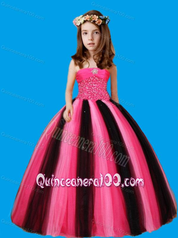 Strapless Ball Gown Beaded Decorate Waist Litle Girl Pageant Dress ...