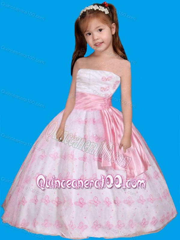 Strapless Embroidery Little Girl Pageant Dress in White and Pink ...