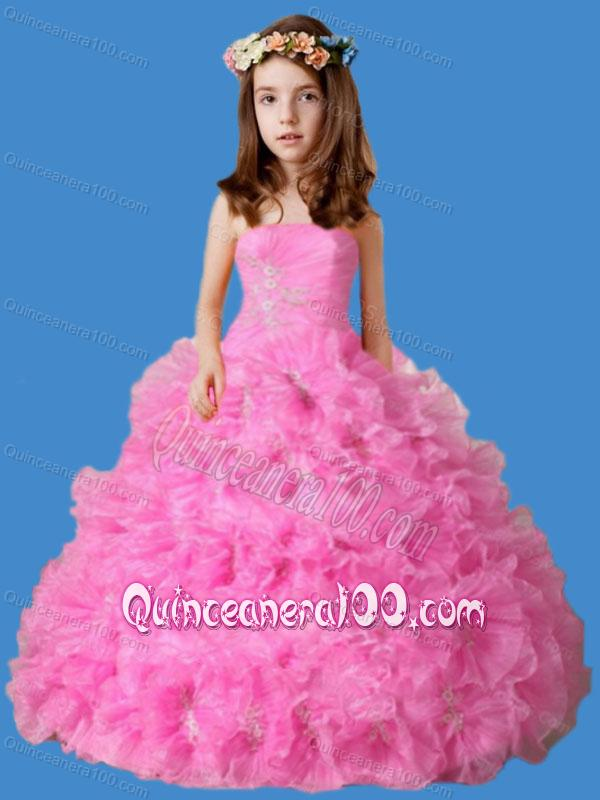Strapless Ruffles and Appliques Little Girl Pageant Dress in Rose ...