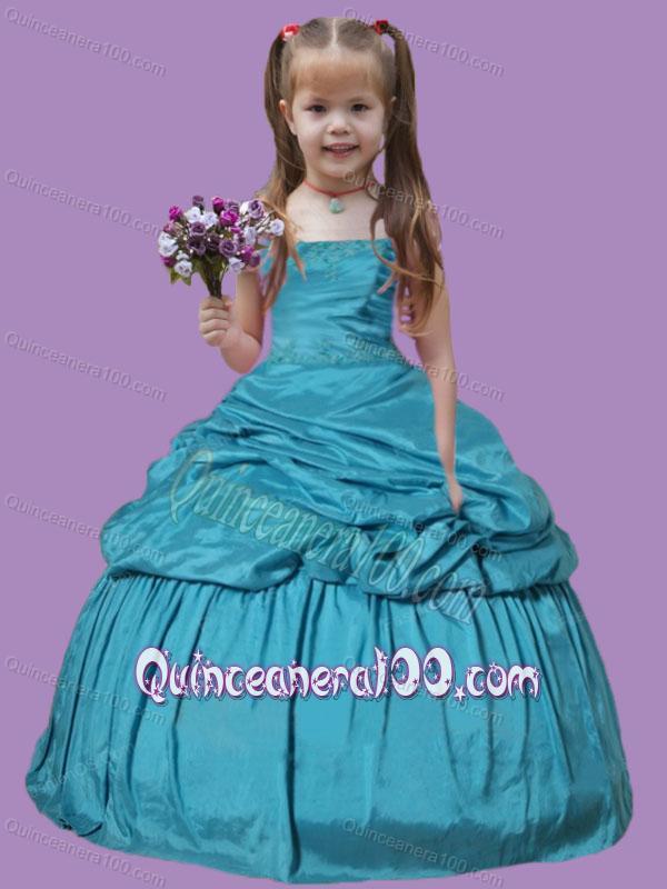 Teal Blue Pick-ups Appliques Taffeta Little Girl Pageant Dress ...