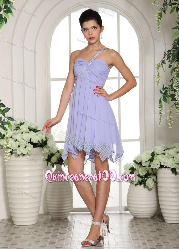 one shoulder chiffon dresses tea length
