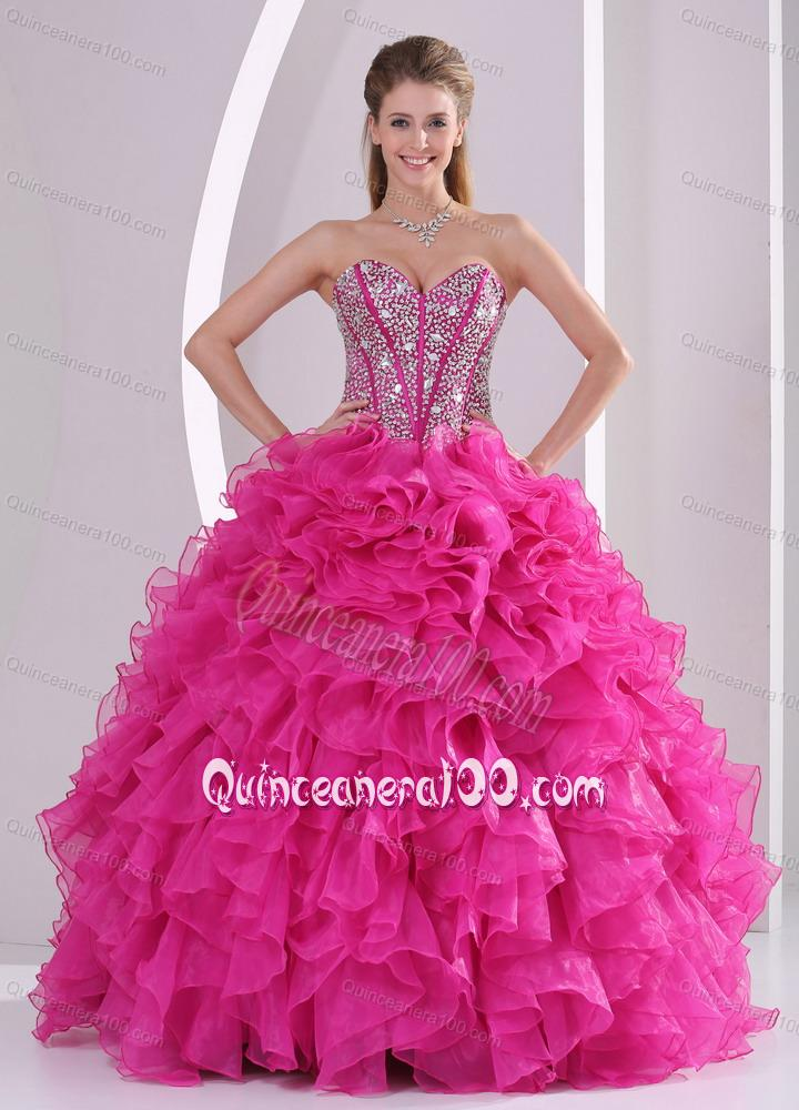 Hot Pink Ruffles Ball Gown Sweetheart Beaded Decorate 16 Birthday