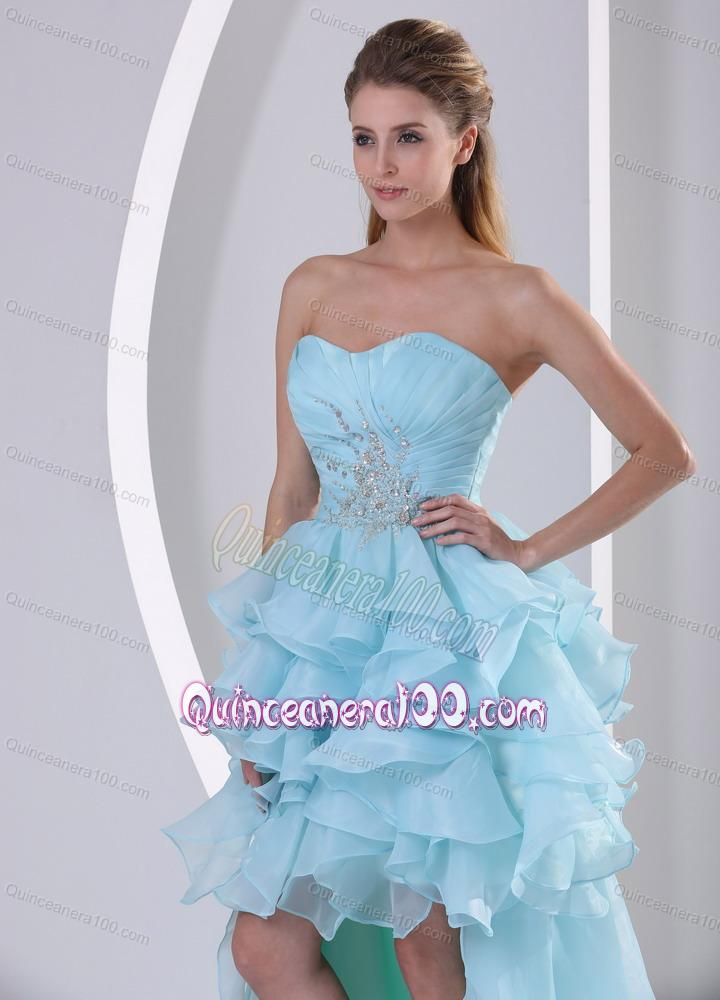 Light Blue Ruffled Short sweetheart 16 Birthday Party Dress ...