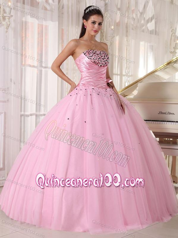 Strapless Baby Pink Tulle Beading and Ruching 16 Birthday Party ...