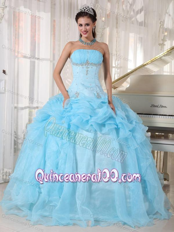 Strapless Organza Beading 16 Birthday Party Dress in Baby Blue ...
