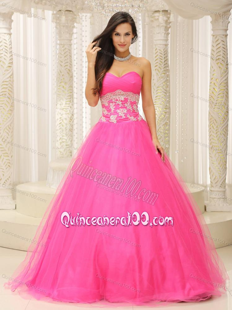Sweetheart Appliques Rose Pink 16 Birthday Party Dress with Beading ...