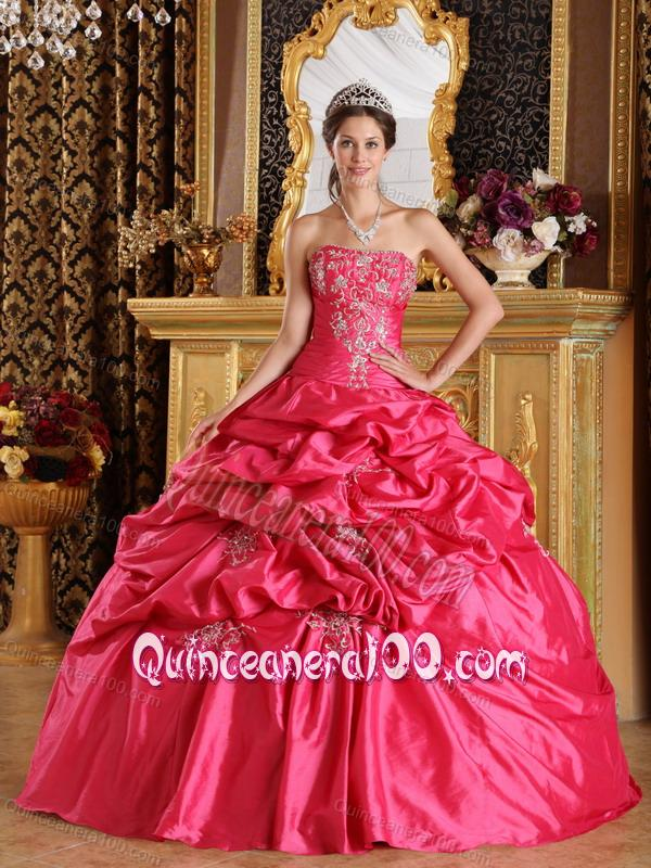 Hot Pink Ball Gown Strapless Taffeta 16 Birthday Dress with Pick Ups ...