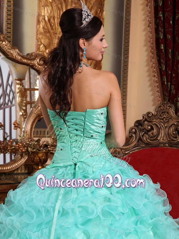 5607fecb432 Apple Green Ball Gown Sweetheart Floor-length Organza Beading and Ruffles  16 Birthday Party Dress - Quinceanera 100