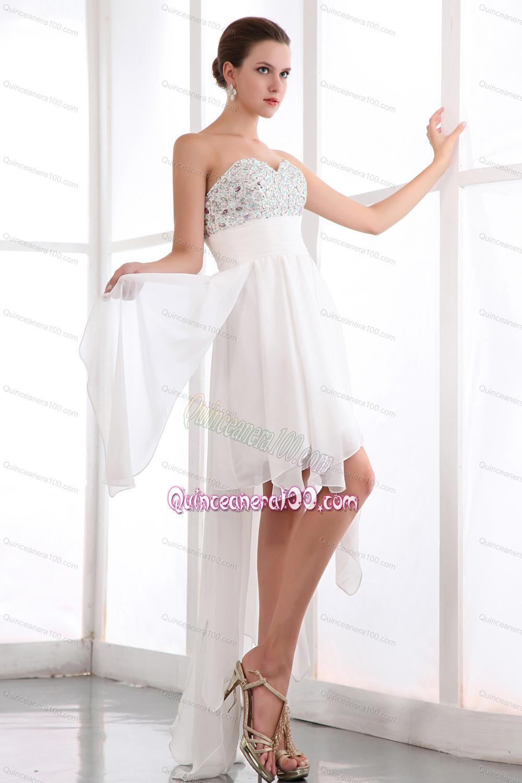 White Empire Sweetheart Prom Dress Chiffon 16 Birthday Party ...