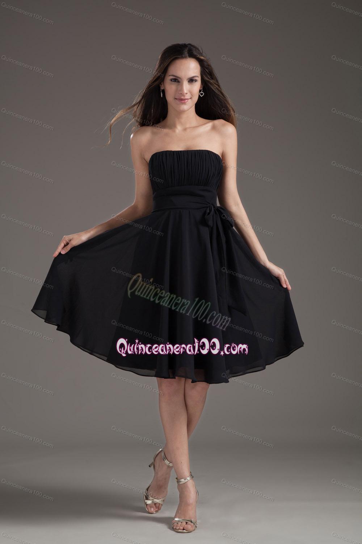 Simple Empire Black Strapless Sash With Chiffon Dama Dress ...