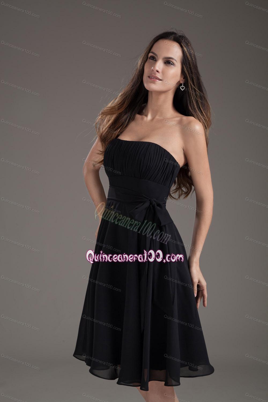 Simple Black Strapless Dress