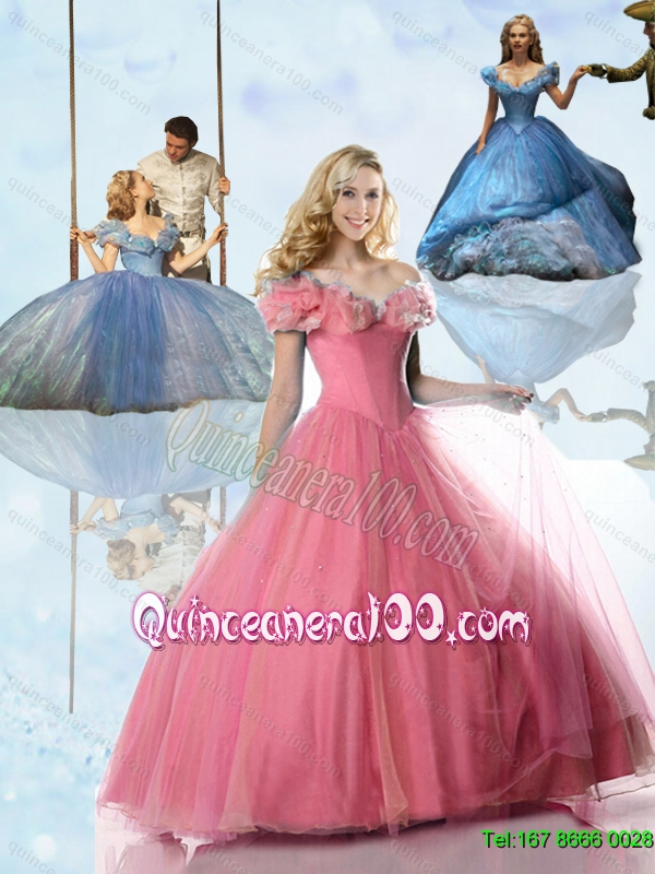2015 Princess Rose Pink Cinderella Quinceanera Dresses with Hand ...