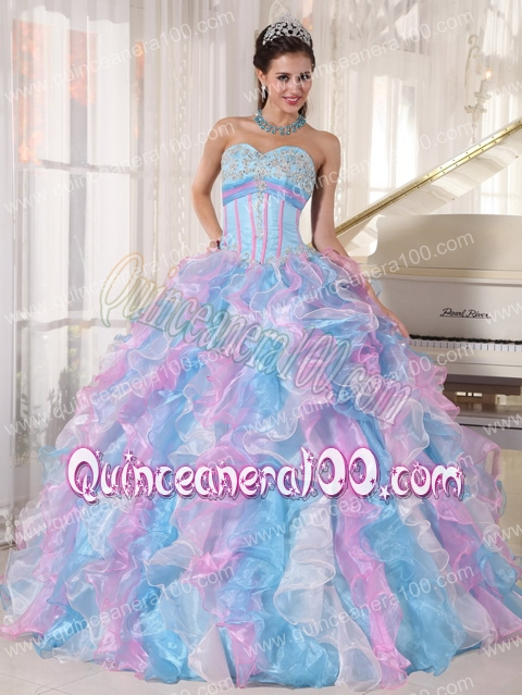 e4def7be851 Multi-color Ball Gown Sweetheart Floor-length Organza Appliques Quinceanera  Dress