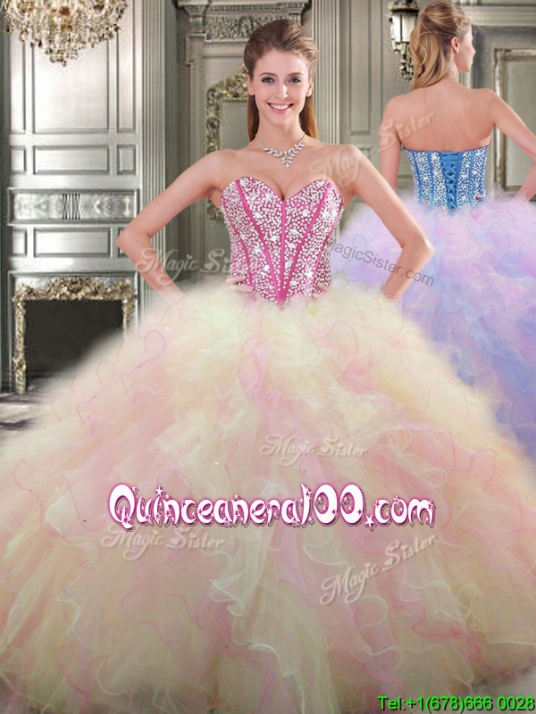 bde368e9bf0 Lovely Big Puffy Tulle Quinceanera Dress with Beading and Ruffles. triumph