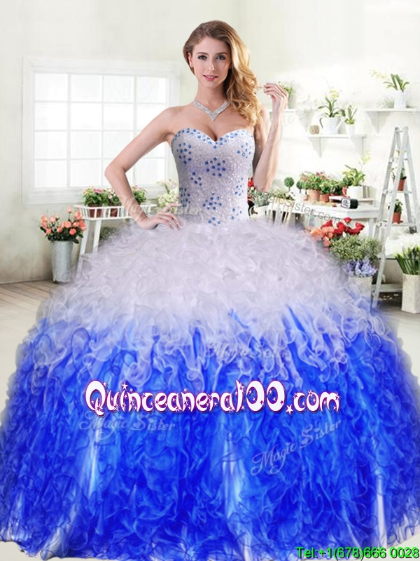 White and blue puffy cinderella quince dresses