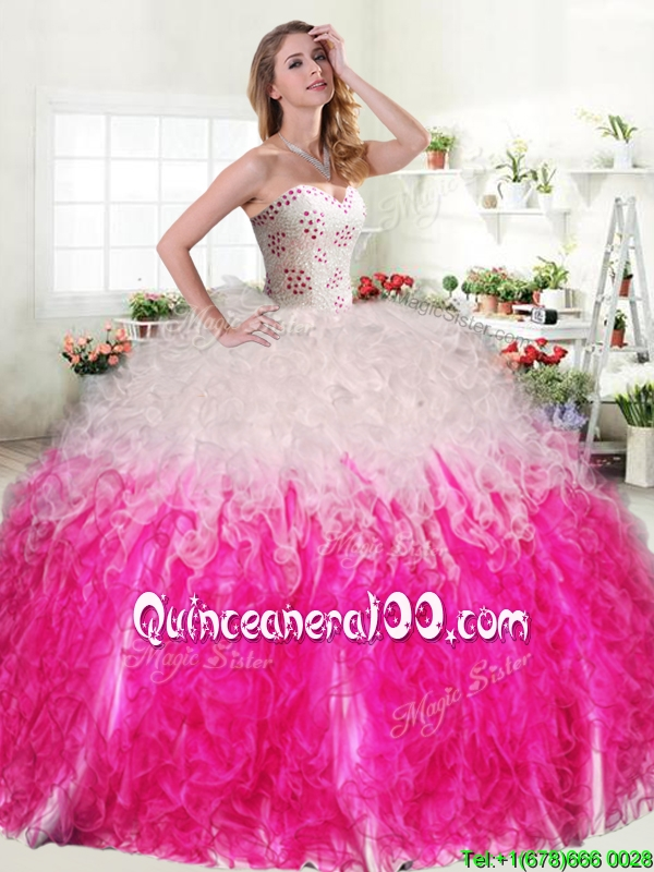 Unique Hot Pink and White Quinceanera Dress with Beading ...