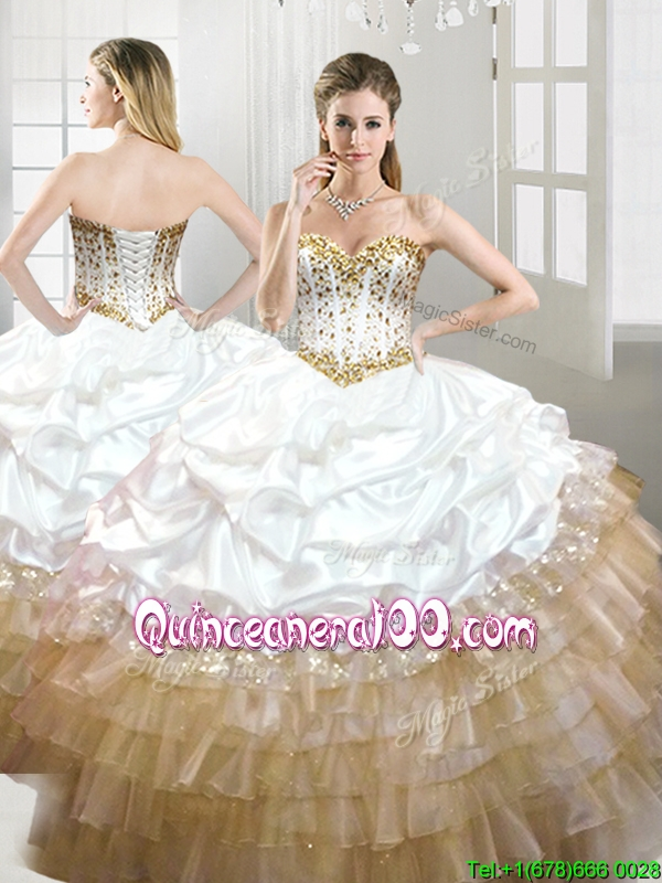 Fashionable Beaded and Pick Ups Quinceanera Dress in White and ...