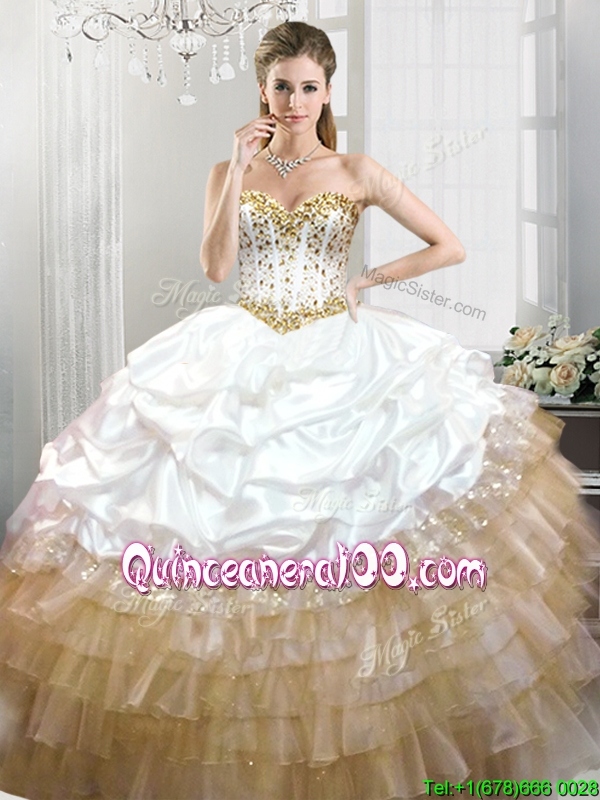Fashionable Beaded and Pick Ups Quinceanera Dress in White ...