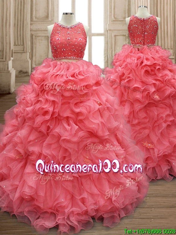 Two Piece Scoop Watermelon Red Quinceanera Dress with Beading and Ruffles