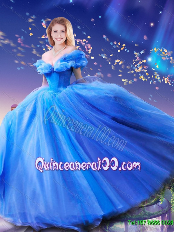 2015 Summer Elegant Hand Made Flowers Cinderella Quinceanera Dresses in Blue