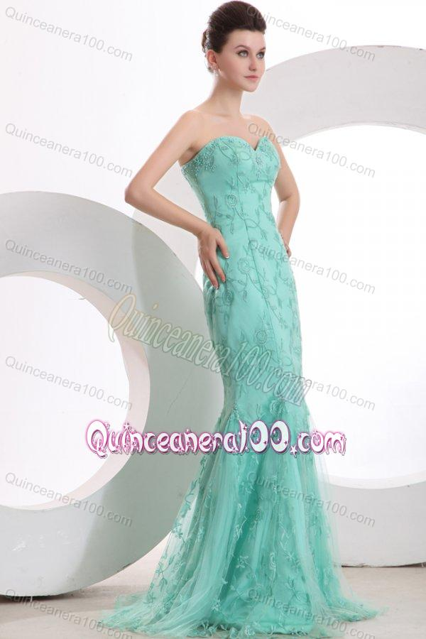 f303f99b27f 2014 Sexy Mermaid Apple Green Mother of the Dresses with Embroidery ...