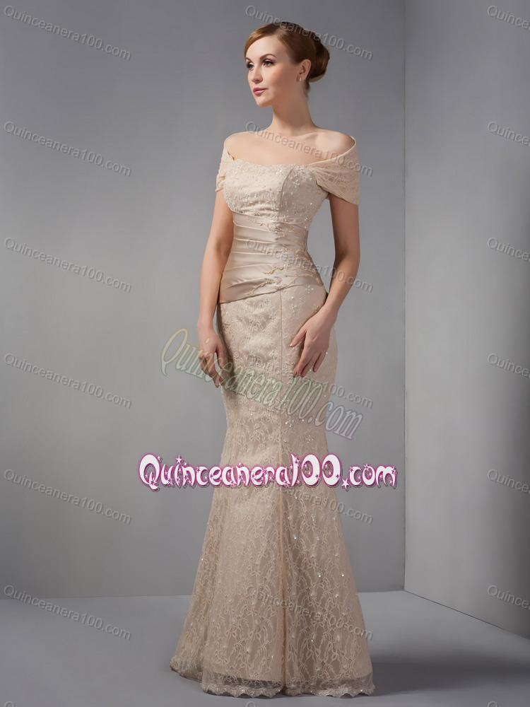 2014 Unique Off The Shoulder Champagne Mother Of The Dress