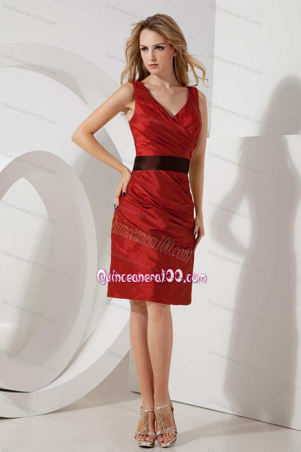 2014 Popular and Cheap Wine Red Mother of the Dresses with Sashes ...
