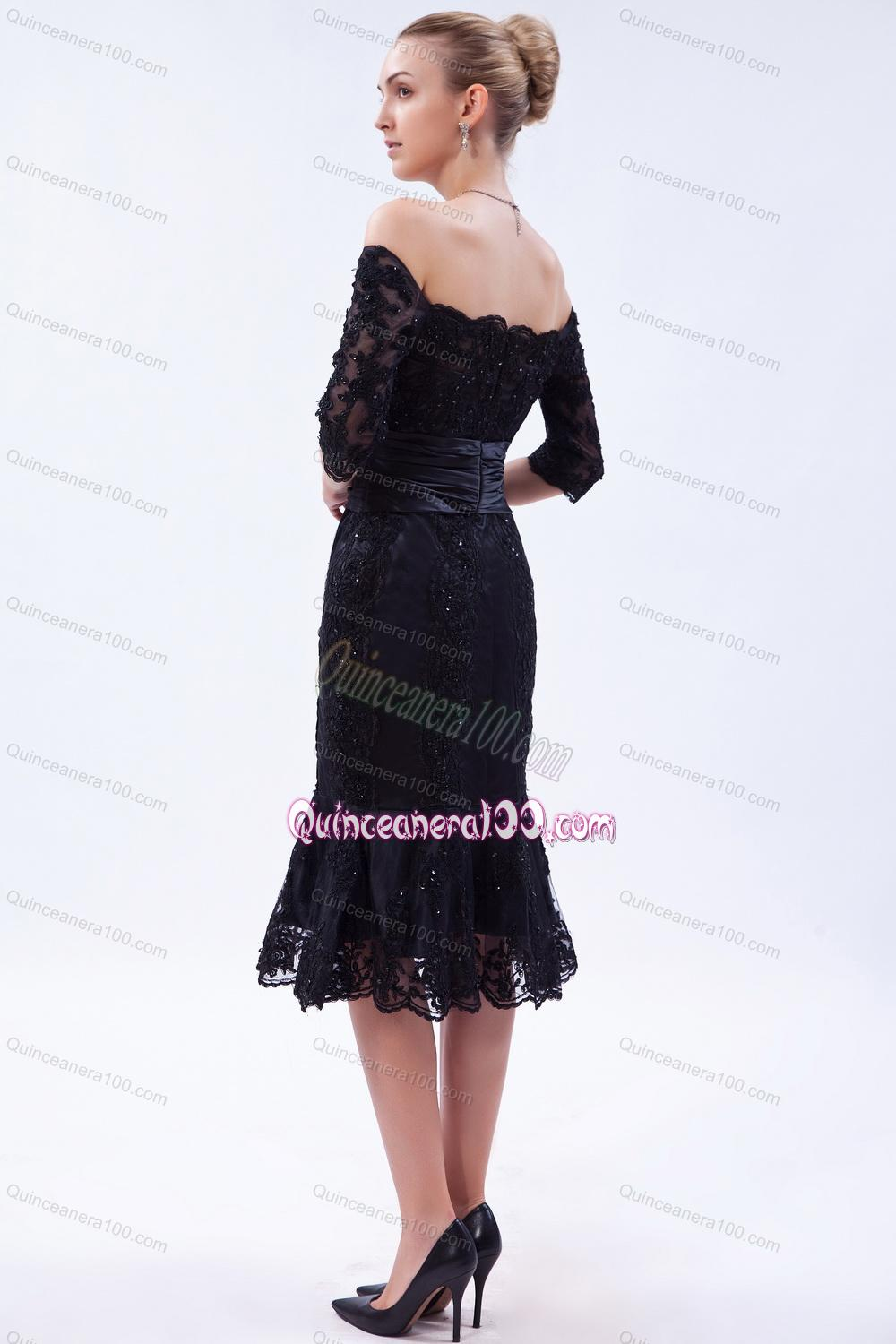 The Most Popular Off the Shoulder Beading Black Mother of the Dresses For 2014