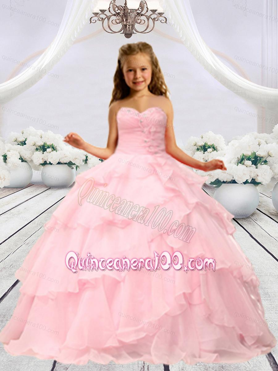 Baby Pink Beaded Decorats Little Girl Pageant Dress with Layers ...