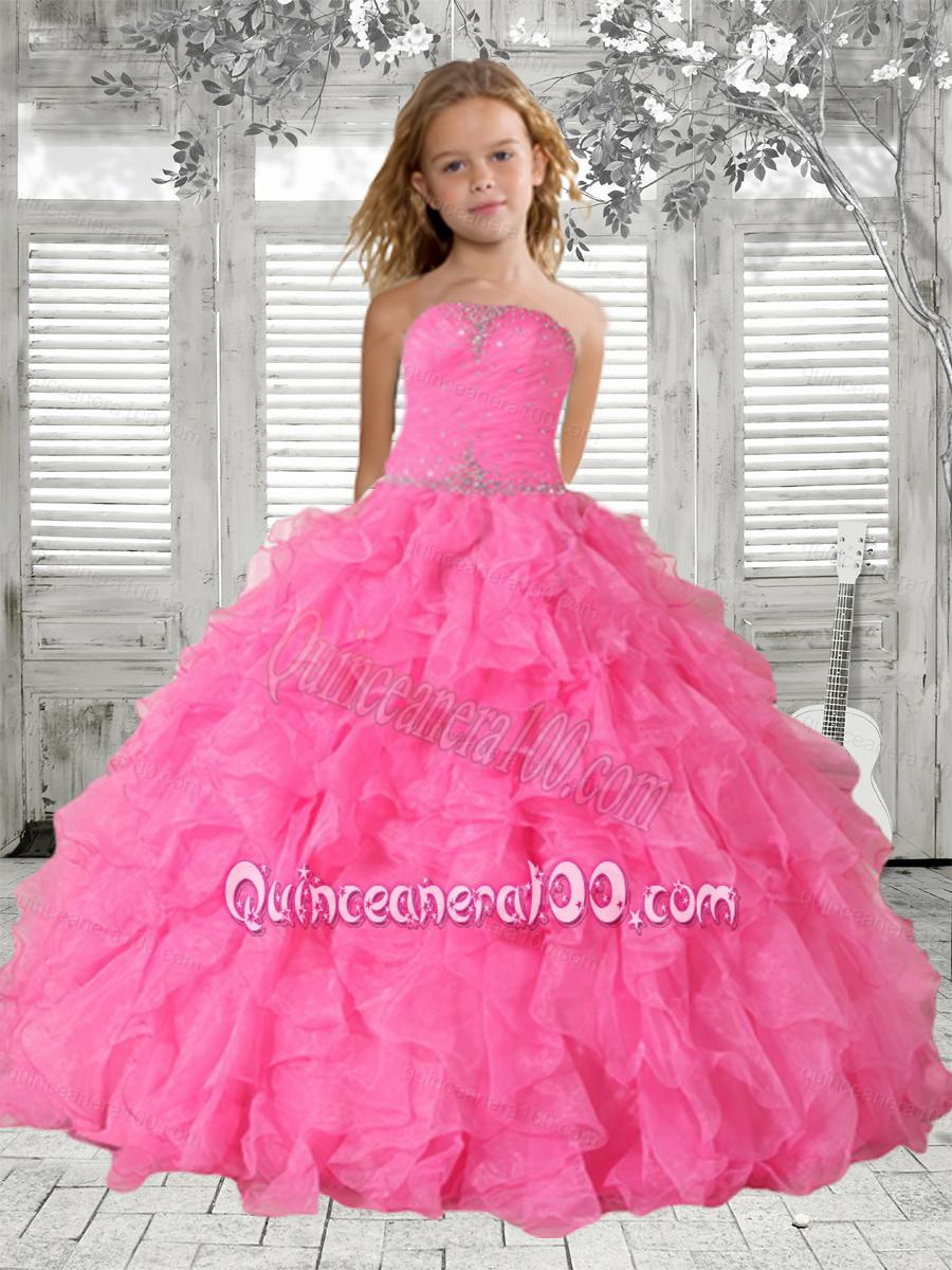 Fall Color Dresses For Little Girls Beading Rose Pink Little Girl